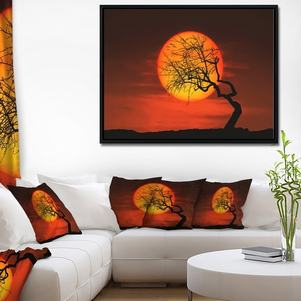Designart 'Birds and Tree Silhouette at Sunset' Landscape Framed Canvas Art