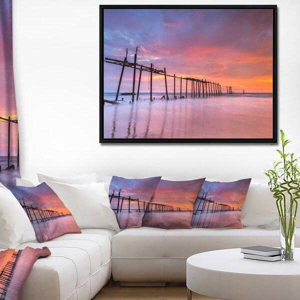 Designart 'Abandoned Wooden Pier at Sunset' Pier Seascape Framed Canvas Art Print