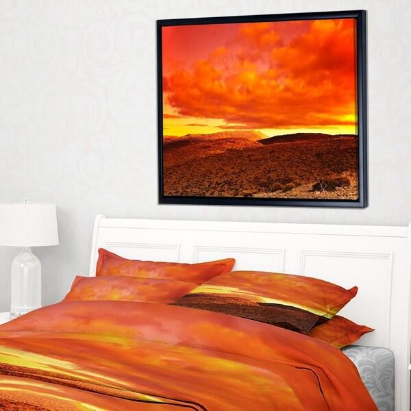 Designart 'Dramatic Red Sunset at Desert' Landscape Framed Canvas Art