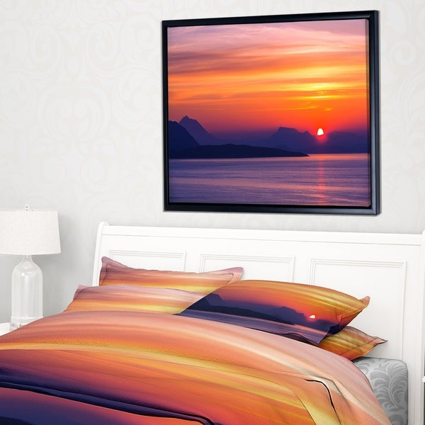 Designart 'Stunning Sunset in Greece' Extra Large Seascape Art Framed Canvas