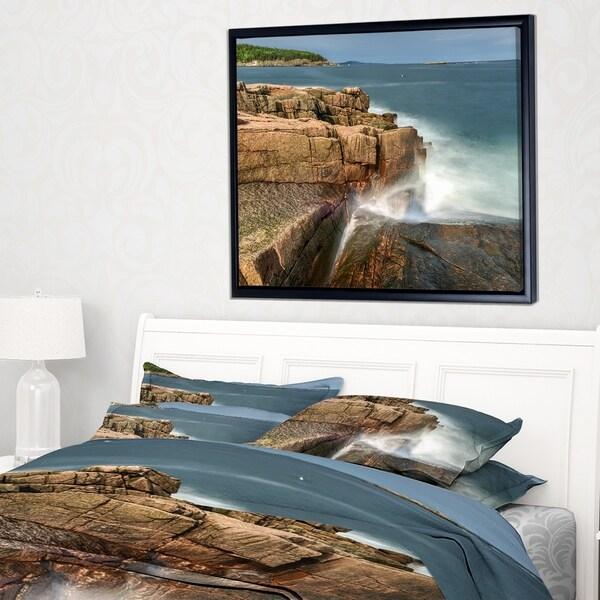 Designart 'Acadia National Park Coast' Oversized Beach Framed Canvas Artwork