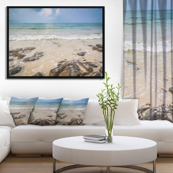 Designart 'Rocks on Typical Tropical Beach' Beach Photo Framed Canvas Print