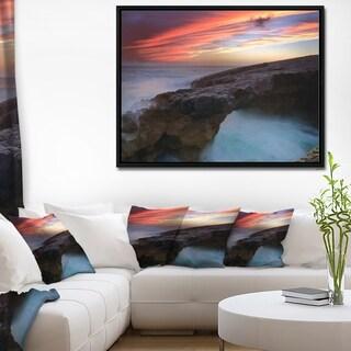 Designart 'Colorful Cabo Raso Seashore Portugal' Seashore Framed Canvas Art Print