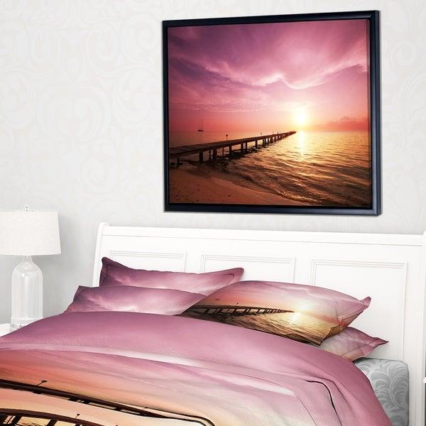 Designart 'Long Boardwalk into Sunset Sea' Bridge Framed Canvas Art Print