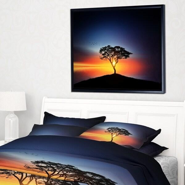 Designart 'Beautiful Sunset over Lonely Tree' Landscape Framed Canvas Art