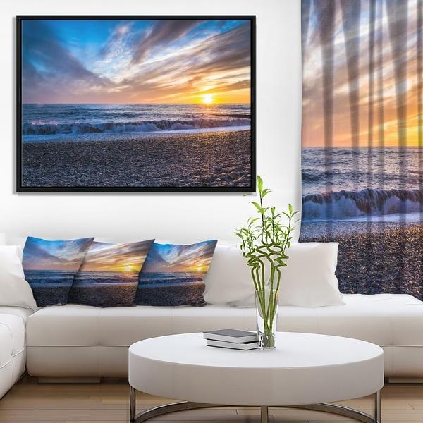 Designart 'Cloudy Sky with Bright Full Yellow Sun' Beach Photo Framed Canvas Print