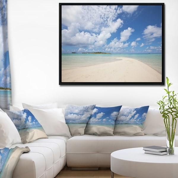 Designart 'Serene Maldives Beach under Clouds' Extra Large Seascape Art Framed Canvas