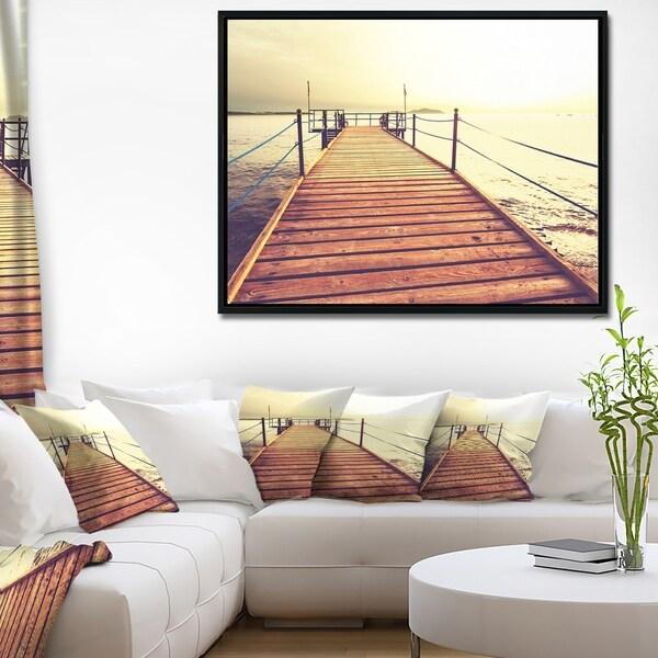 Designart 'Brown Wooden Boardwalk to the Sea' Bridge Framed Canvas Art Print