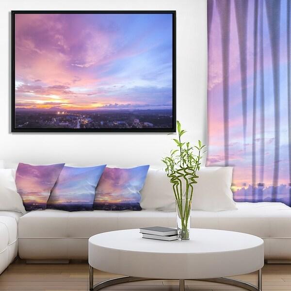 Designart 'Beautiful Sunset at Trang Thailand' Landscape Framed Canvas Art