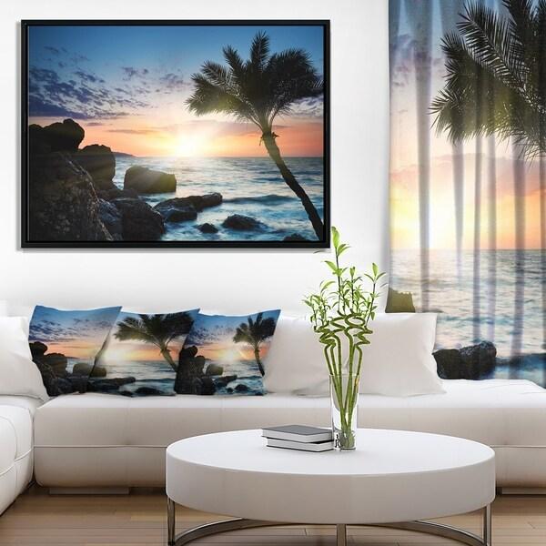 Designart 'Lonely Palm Tree on Rocky Beach' Modern Seashore Framed Canvas Art
