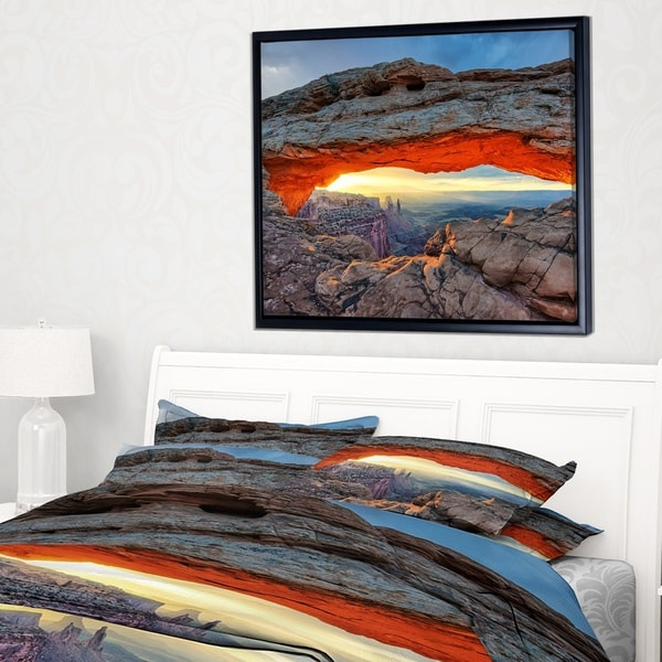 Designart 'Sunrise at Mesa Arch in Canyon lands' Large Flower Framed Canvas Wall Art
