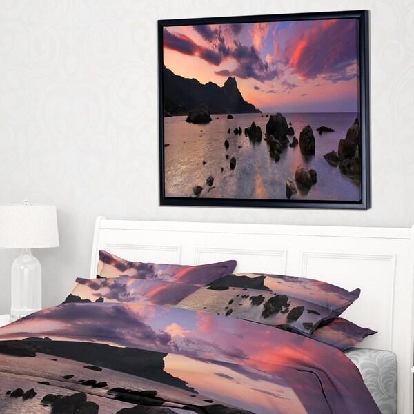 Designart 'Rocky Colorful Beach Panorama' Modern Seashore Framed Canvas Art