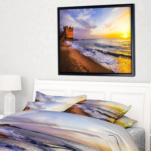 Designart 'Castle Santa Severa over Sunset Italy' Seashore Framed Canvas Art Print