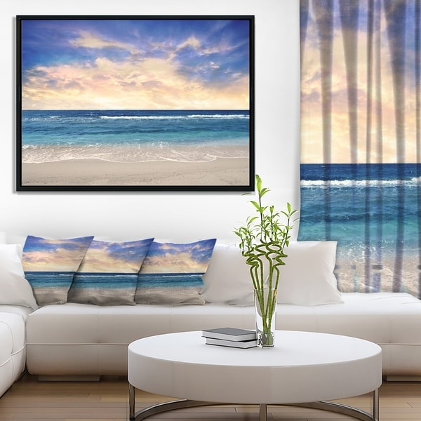 Designart 'Clear Blue Sky and Ocean at Sunset' Extra Large Seascape Art Framed Canvas
