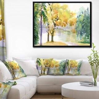 Designart 'Beautiful Autumn Forest Watercolor' Landscape Framed Canvas Art Print