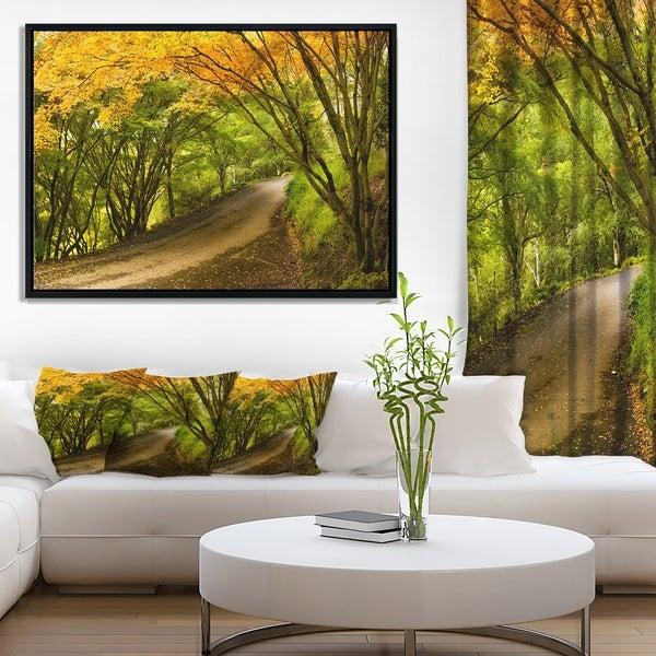 Designart 'Country Lane in Green Forest' Landscape Framed Canvas Art