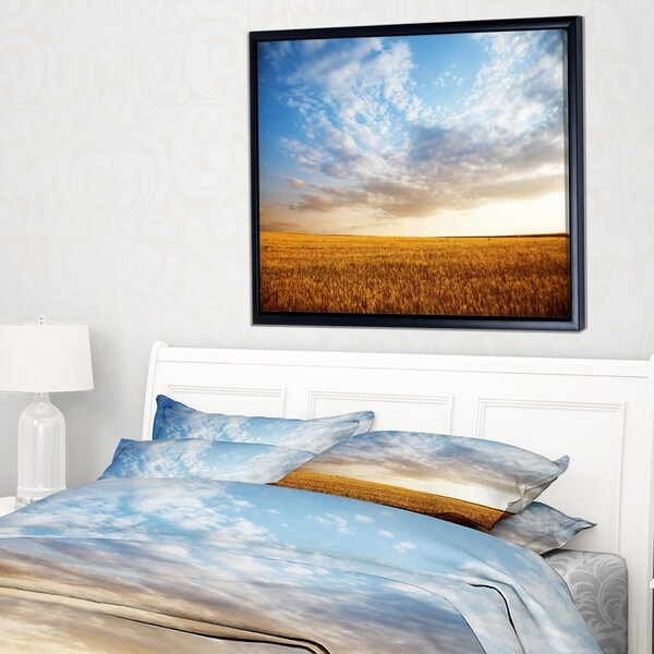 Designart 'Wheat Field under Summer Sky' Landscape Framed Canvas Art