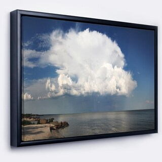 Designart 'Heavy White Cloud above Sea' Contemporary Landscape Framed Canvas Art