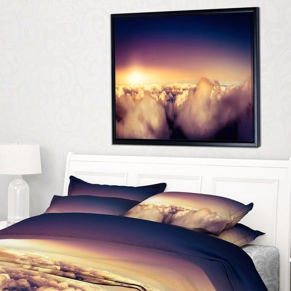 Designart 'Blue Sky over Clouds Panorama' Landscape Framed Canvas Art Print