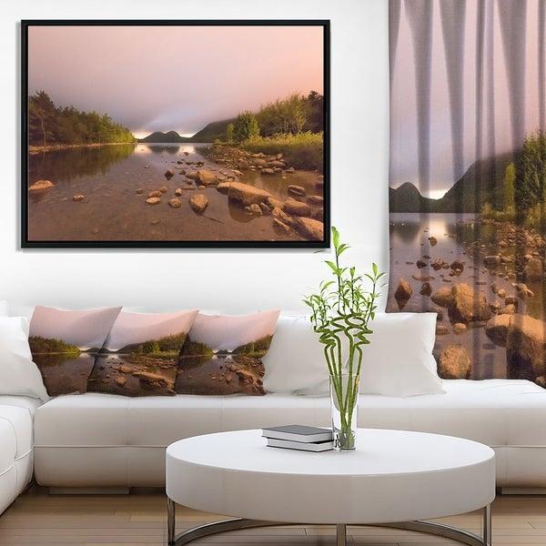 Designart 'Jordan Pond in Acadia Park' Contemporary Landscape Framed Canvas Art