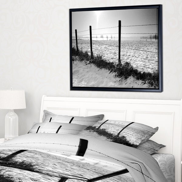 Designart 'Landscape in Snow with Fence' Oversized Beach Framed Canvas Artwork