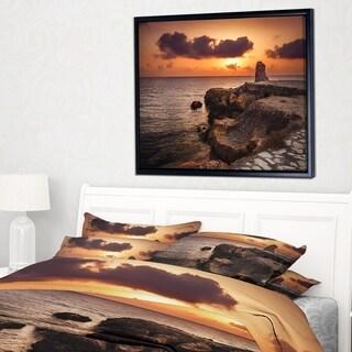 Designart 'Beach Sunset with Ancient Ruins' Oversized Beach Framed Canvas Artwork
