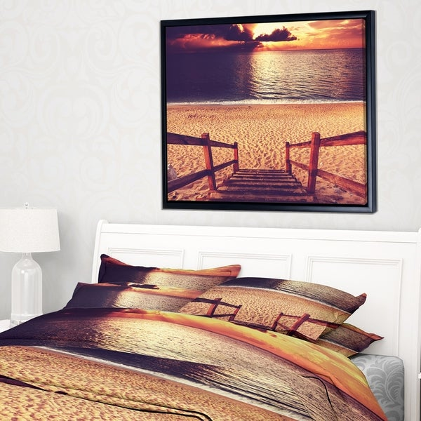 Designart 'Wood Boardwalk in Beach at Evening' Bridge Framed Canvas Art Print
