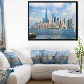 Designart 'Lower Manhattan Skyline Panorama' Cityscape Framed Canvas Art Print