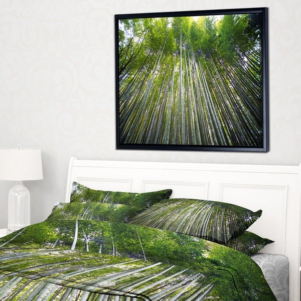 Designart 'Bamboo forest of Kyoto Japan.' Forest Framed Canvas Wall Art Print