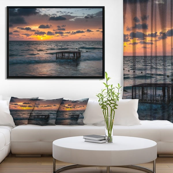 Designart 'Tropical Beach with Empty Cage' Extra Large Seashore Framed Canvas Art