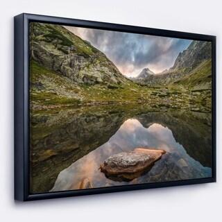 Designart 'Mountain Lake over Skok Waterfall' Extra Large Seashore Framed Canvas Art