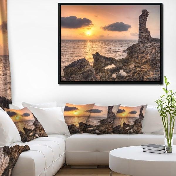 Designart 'Historic Ruins at Sunset Africa' Extra Large Seashore Framed Canvas Art