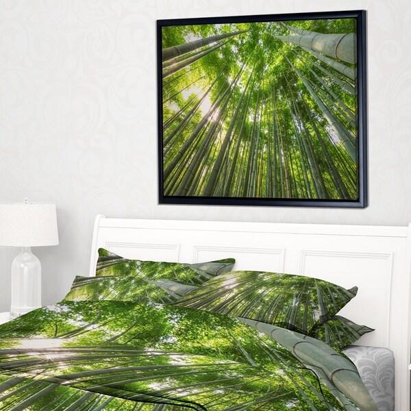 Designart 'Peaks of Bamboo in Kyoto Forest' Oversized Forest Framed Canvas Artwork