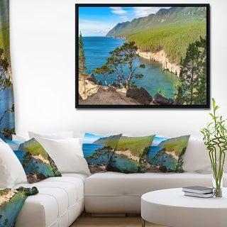 Designart 'Lake Baikal on Summer Day' Landscape Framed Canvas Art Print