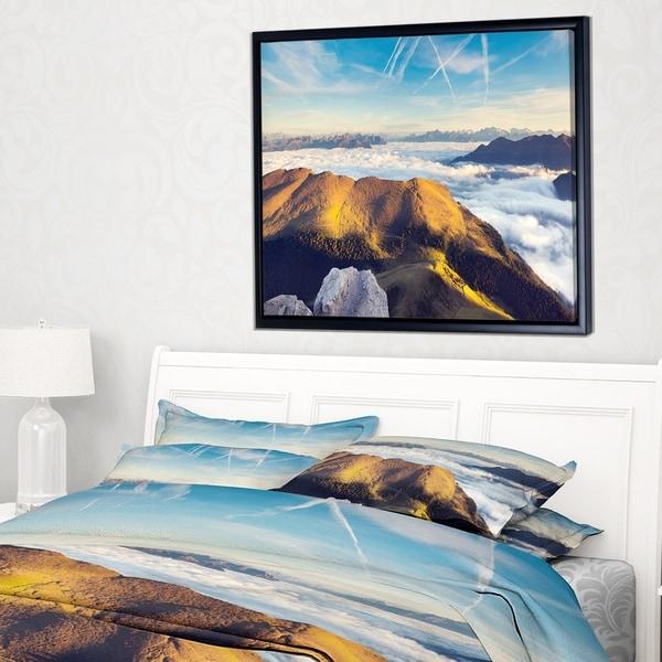 Designart 'Fantastic View of Val Gardena Valley' Extra Large Seashore Framed Canvas Art