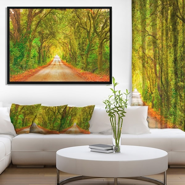 Designart 'Fall Greenery and Road Straight Ahead' Oversized Forest Framed Canvas Art