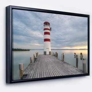 Designart 'Lighthouse at Lake Neusiedl at Sunset' Bridge Framed Canvas Art Print