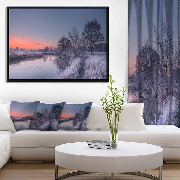 Designart 'Frosty Fall Morning Panorama' Landscape Print Wall Framed Canvas Artwork