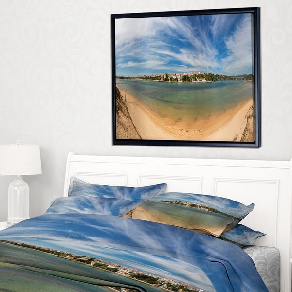 Designart 'Portuguese Maritime Village Panorama' Extra Large Seashore Framed Canvas Art
