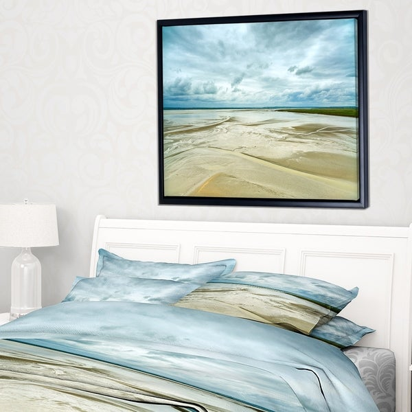 Designart 'Low Tide in Mont Saint Normandy' Landscape Framed Canvas Art