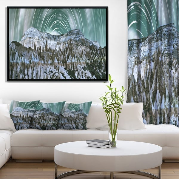Designart 'Cappadocia Valley Panoramic View' Landscape Print Wall Framed Canvas Artwork