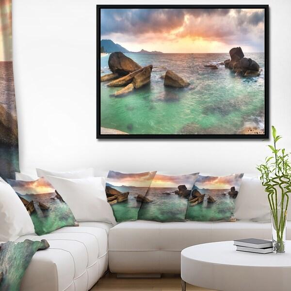 Designart 'Sunrise at Blue Lamai Beach' Extra Large Seashore Framed Canvas Art