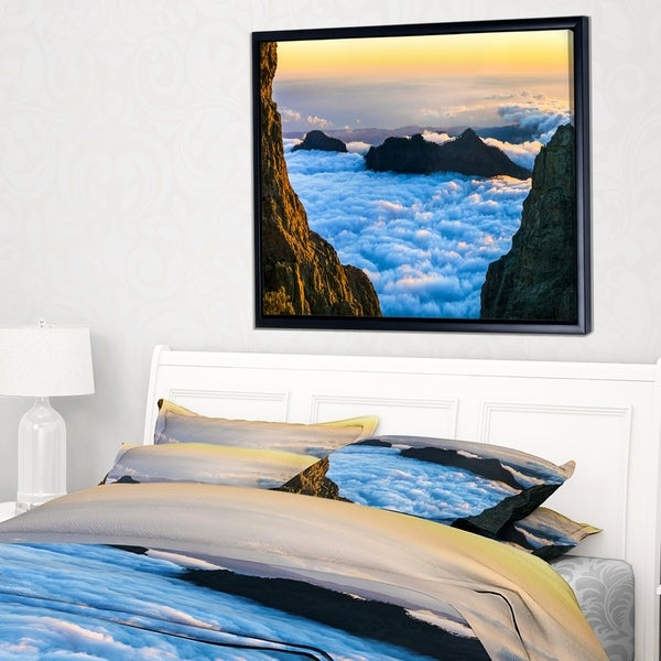Designart 'Gran Canaria Sunset over Clouds' Extra Large Seashore Framed Canvas Art
