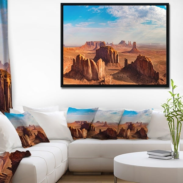 Designart 'Monument Valley Aerial Sky View' Landscape Print Wall Framed Canvas Artwork