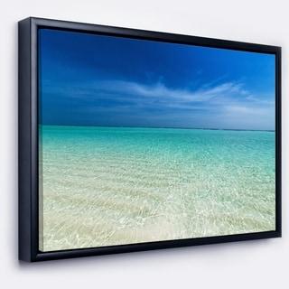 Designart 'Turquoise Ocean Under Blue Sky' Modern Seascape Framed Canvas Artwork