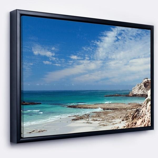 Designart 'Rocky Coast Panoramic View' Extra Large Seashore Framed Canvas Art