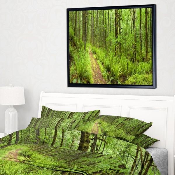 Designart 'Lush Forest Path Columbia River' Forest Framed Canvas Wall Art Print -  DESIGN ART