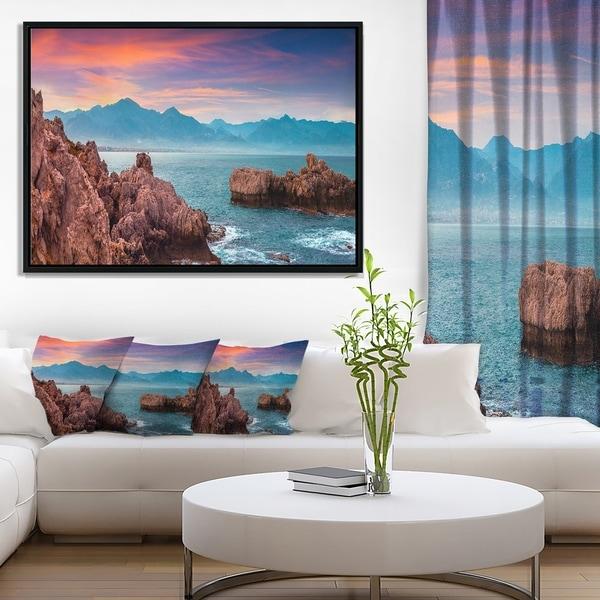 Designart 'Sunrise on Barbor Milazzo Panorama' Landscape Print Wall Framed Canvas Artwork