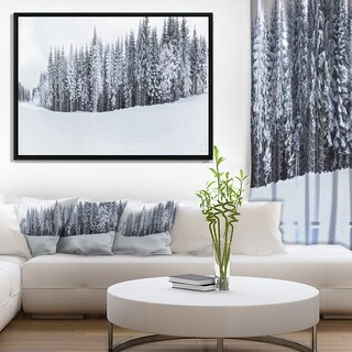 Designart 'Black and White Snow Capped Hills' Landscape Framed Canvas Art Print