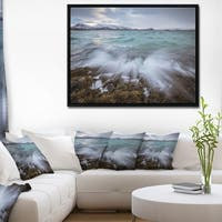Designart 'Waves Splashing Rocks in Norway' Modern Seascape Framed Canvas Artwork